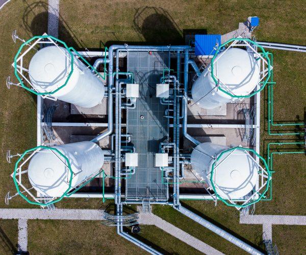 Aerial view of Liquid chemical tank terminal, Storage of liquid chemical and petrochemical products.